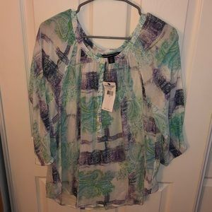 American Living Paisley design 3/4 sleeve blouse